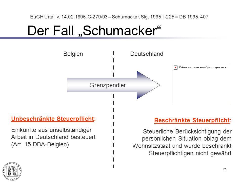 Der Fall Schumacker 21 Unbeschränkte Steuerpflicht: Einkünfte aus unselbständiger Arbeit in Deutschland besteuert (Art.