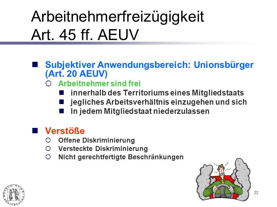Arbeitnehmerfreizügigkeit Art.45 ff. AEUV Subjektiver Anwendungsbereich: Unionsbürger (Art.