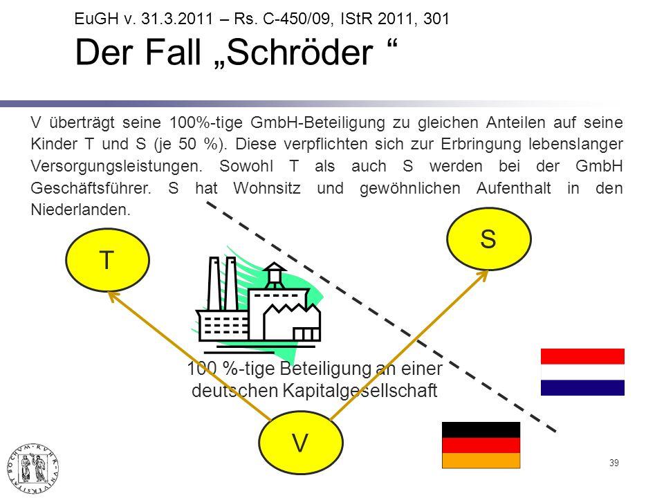 39 100 %-tige Beteiligung an einer deutschen Kapitalgesellschaft T V S V überträgt seine 100%-tige GmbH-Beteiligung zu gleichen Anteilen auf seine Kinder T und S (je 50 %).