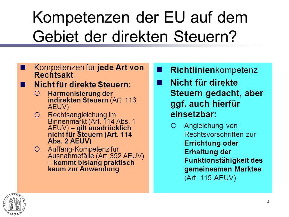 Kompetenzen der EU auf dem Gebiet der direkten Steuern.