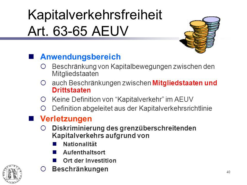 Kapitalverkehrsfreiheit Art.