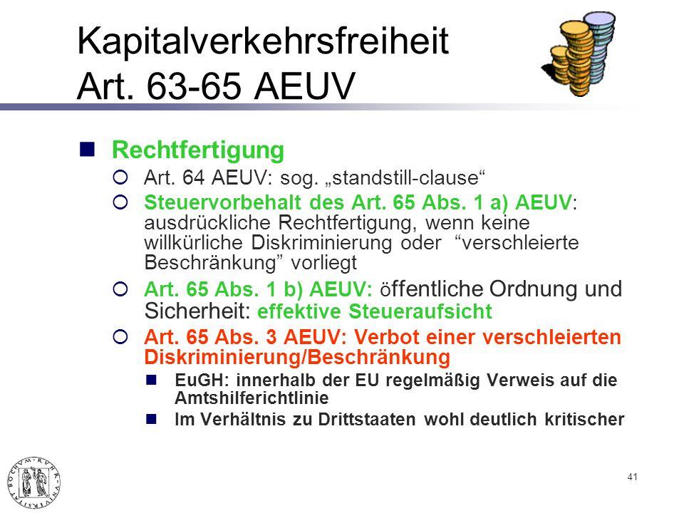 Kapitalverkehrsfreiheit Art.63-65 AEUV Rechtfertigung Art.