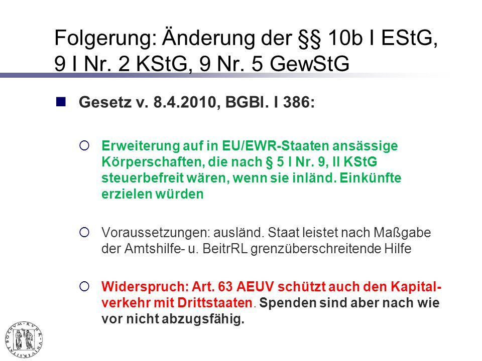 Folgerung: Änderung der §§ 10b I EStG, 9 I Nr.2 KStG, 9 Nr.
