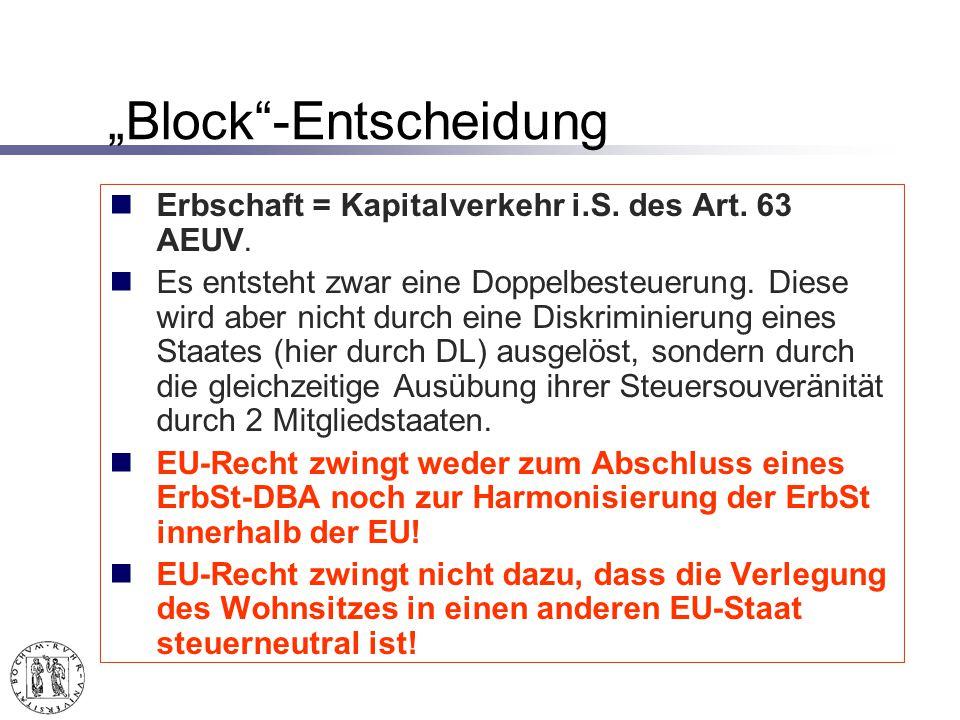 Block-Entscheidung Erbschaft = Kapitalverkehr i.S.