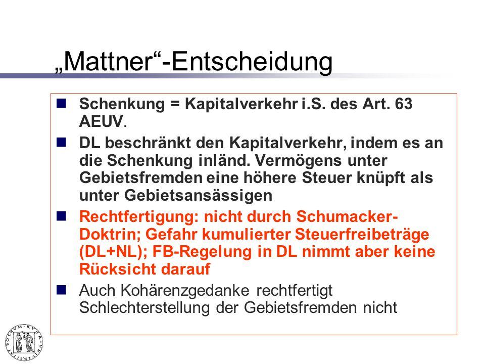 Mattner-Entscheidung Schenkung = Kapitalverkehr i.S.