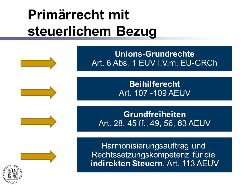 Primärrecht mit steuerlichem Bezug Unions-Grundrechte Art.