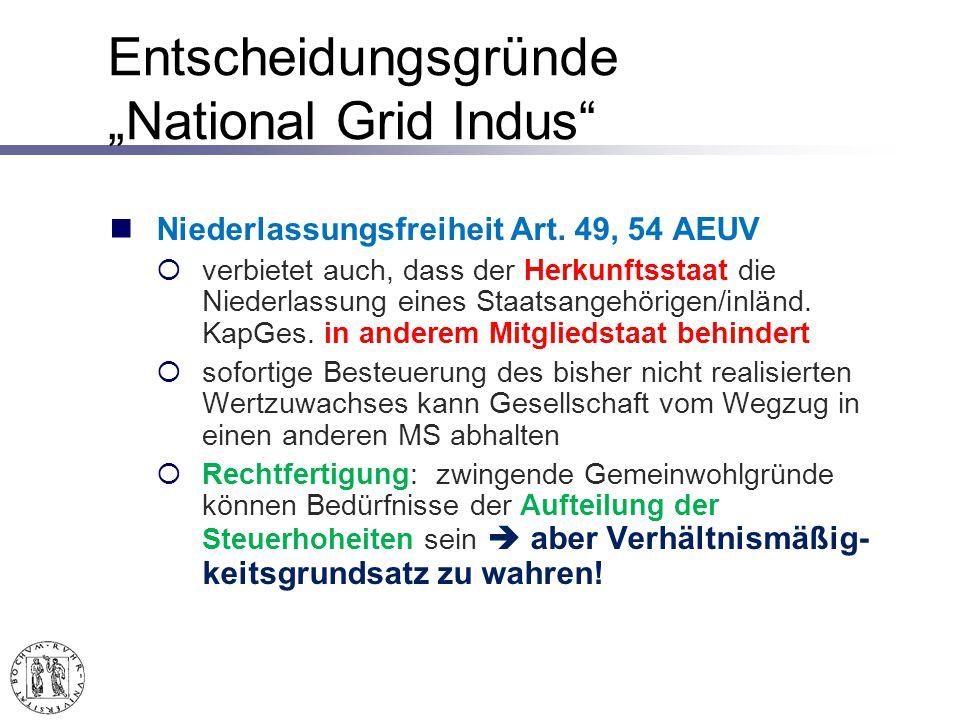 Entscheidungsgründe National Grid Indus Niederlassungsfreiheit Art.