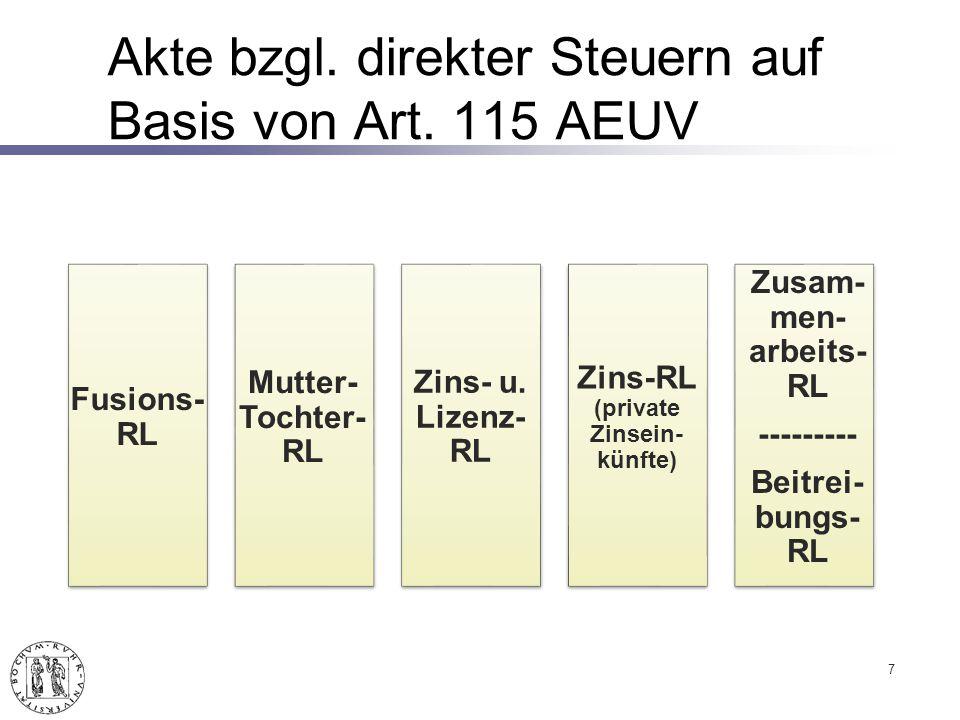 Akte bzgl.direkter Steuern auf Basis von Art. 115 AEUV 7 Fusions- RL Mutter- Tochter- RL Zins- u.
