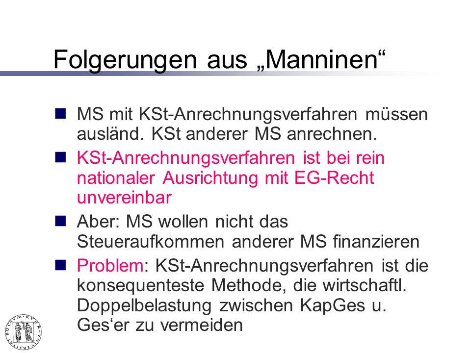 Folgerungen aus Manninen MS mit KSt-Anrechnungsverfahren müssen ausländ.