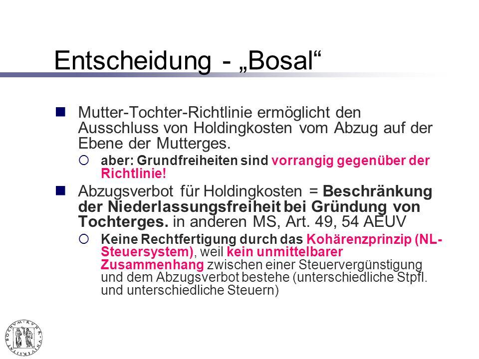 Entscheidung - Bosal Mutter-Tochter-Richtlinie ermöglicht den Ausschluss von Holdingkosten vom Abzug auf der Ebene der Mutterges.