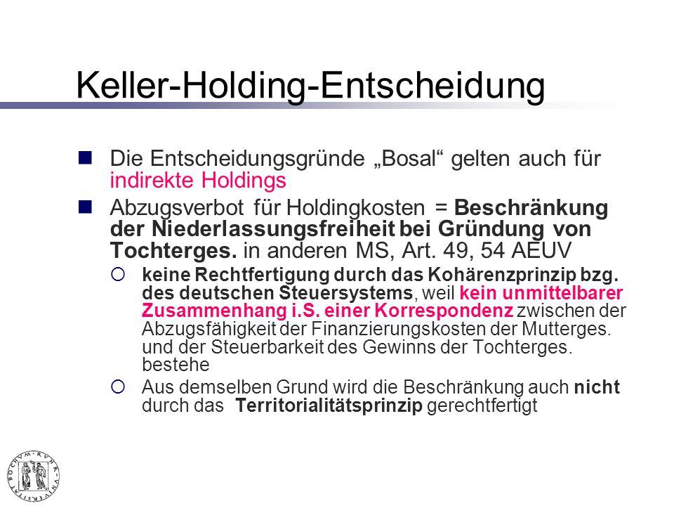 Keller-Holding-Entscheidung Die Entscheidungsgründe Bosal gelten auch für indirekte Holdings Abzugsverbot für Holdingkosten = Beschränkung der Niederlassungsfreiheit bei Gründung von Tochterges.