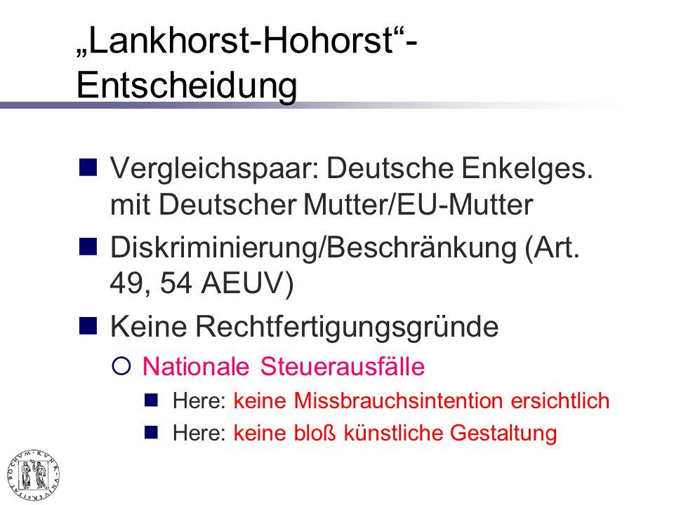 Lankhorst-Hohorst- Entscheidung Vergleichspaar: Deutsche Enkelges.