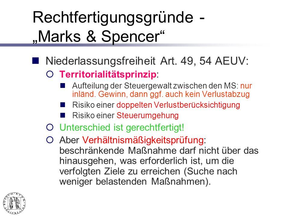 Rechtfertigungsgründe - Marks & Spencer Niederlassungsfreiheit Art.