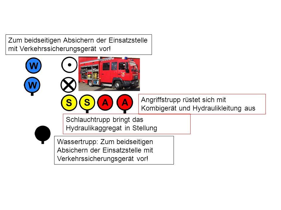 Wassertrupp: Zum beidseitigen Absichern der Einsatzstelle mit Verkehrssicherungsgerät vor.
