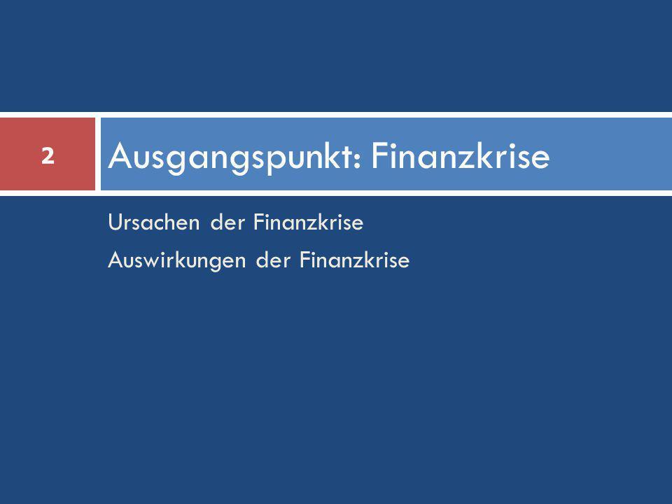 Ursachen der Finanzkrise Auswirkungen der Finanzkrise Ausgangspunkt: Finanzkrise 2