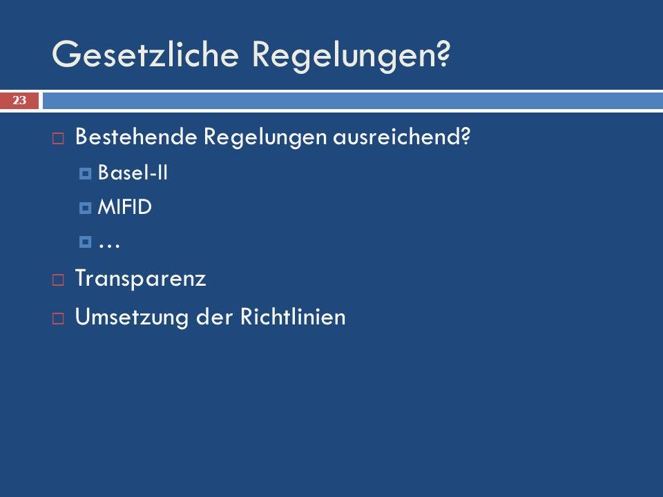 Gesetzliche Regelungen? Bestehende Regelungen ausreichend? Basel-II MIFID … Transparenz Umsetzung der Richtlinien 23