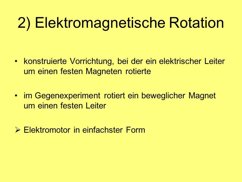 2) Elektromagnetische Rotation konstruierte Vorrichtung, bei der ein elektrischer Leiter um einen festen Magneten rotierte im Gegenexperiment rotiert