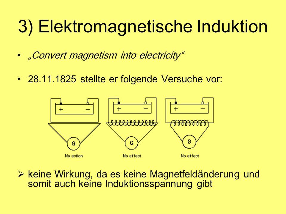 3) Elektromagnetische Induktion Convert magnetism into electricity 28.11.1825 stellte er folgende Versuche vor: keine Wirkung, da es keine Magnetfeldä