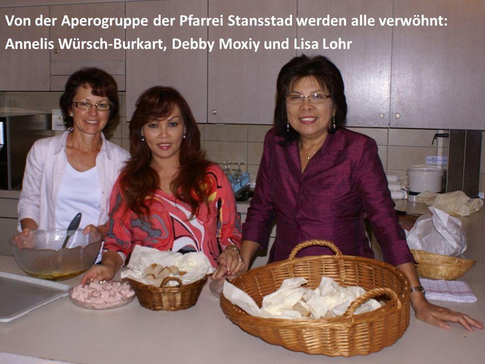 Von der Aperogruppe der Pfarrei Stansstad werden alle verwöhnt: Annelis Würsch-Burkart, Debby Moxiy und Lisa Lohr