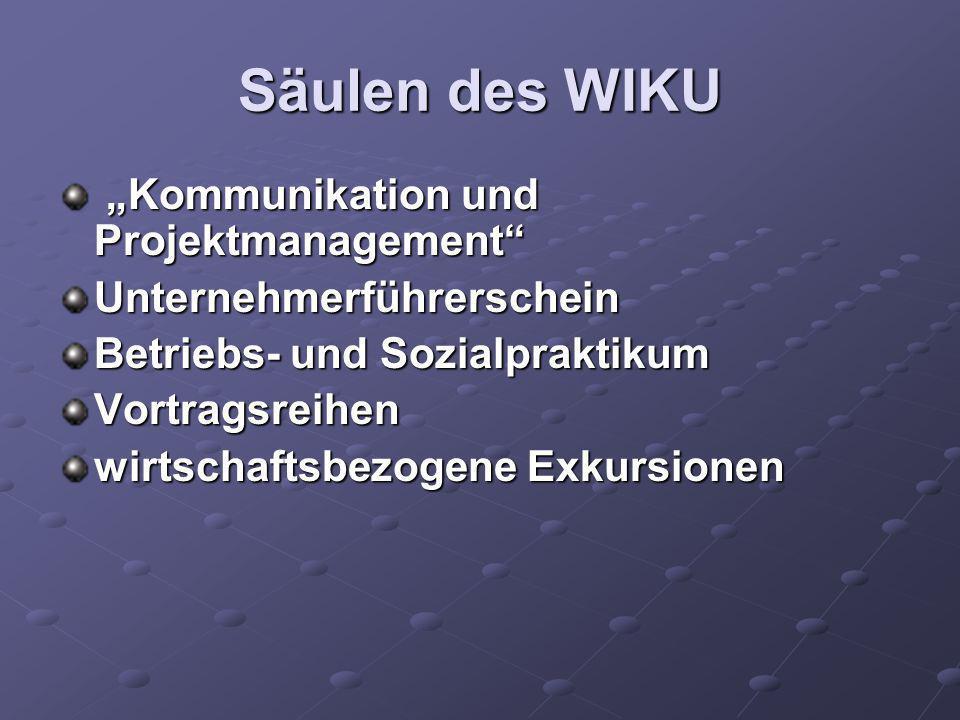 Säulen des WIKU Kommunikation und Projektmanagement Kommunikation und ProjektmanagementUnternehmerführerschein Betriebs- und Sozialpraktikum Vortragsr