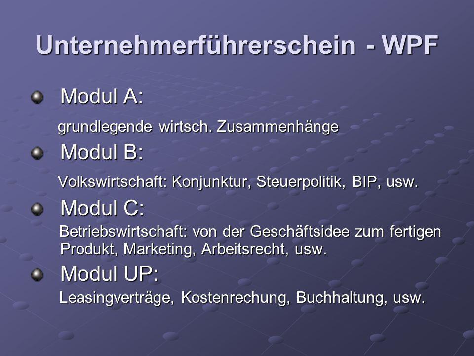 Unternehmerführerschein - WPF Modul A: grundlegende wirtsch. Zusammenhänge grundlegende wirtsch. Zusammenhänge Modul B: Volkswirtschaft: Konjunktur, S