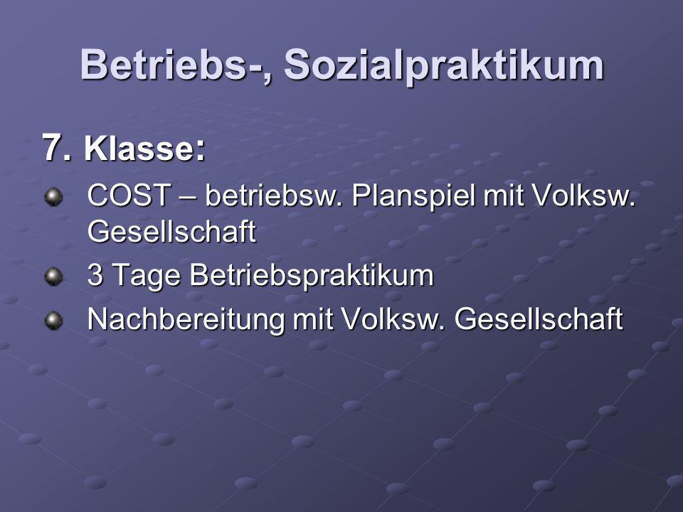 Betriebs-, Sozialpraktikum 7. Klasse : COST – betriebsw. Planspiel mit Volksw. Gesellschaft 3 Tage Betriebspraktikum Nachbereitung mit Volksw. Gesells