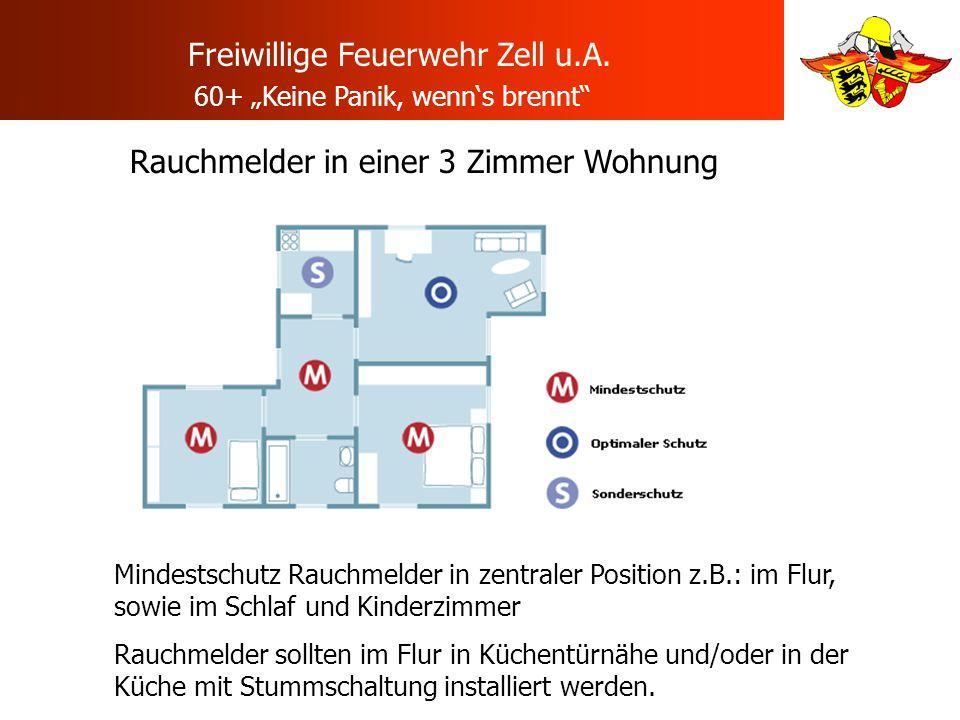 Rauchmelder in einer 3 Zimmer Wohnung Mindestschutz Rauchmelder in zentraler Position z.B.: im Flur, sowie im Schlaf und Kinderzimmer Rauchmelder soll