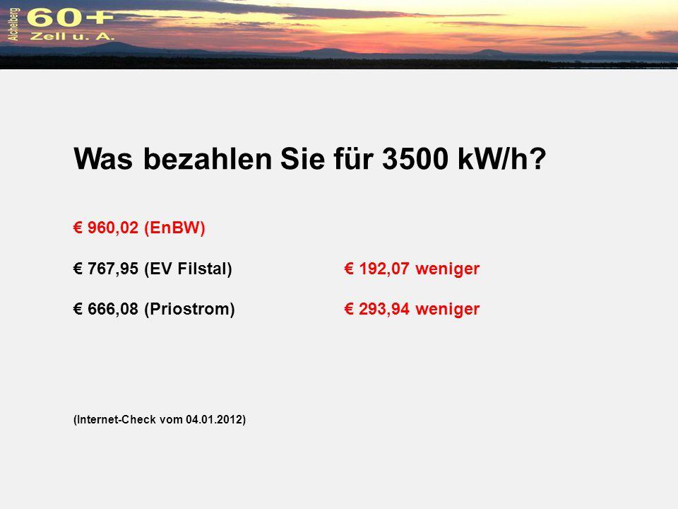 Was bezahlen Sie für 3500 kW/h? 960,02 (EnBW) 767,95 (EV Filstal) 192,07 weniger 666,08 (Priostrom) 293,94 weniger (Internet-Check vom 04.01.2012)