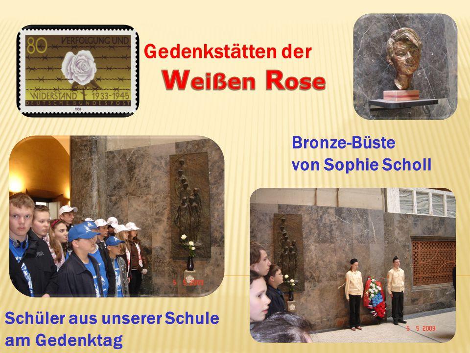 Bronze-Büste von Sophie Scholl Schüler aus unserer Schule am Gedenktag