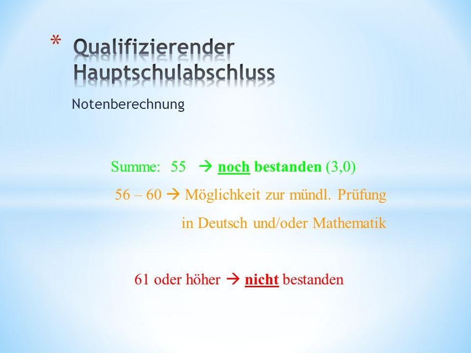 Notenberechnung Summe: 55 noch bestanden (3,0) 56 – 60 Möglichkeit zur mündl. Prüfung in Deutsch und/oder Mathematik 61 oder höher nicht bestanden