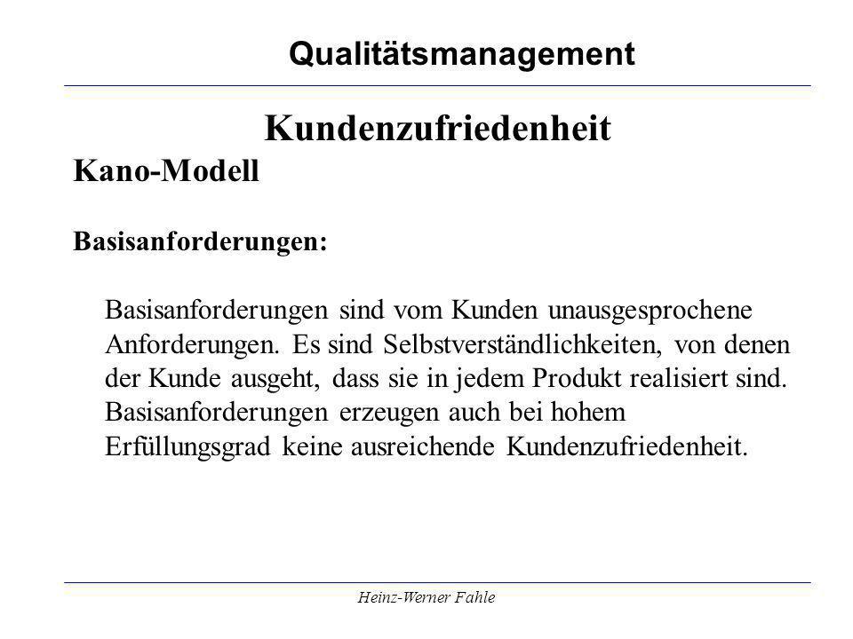 Qualitätsmanagement Heinz-Werner Fahle Kundenzufriedenheit Kano-Modell Basisanforderungen: Basisanforderungen sind vom Kunden unausgesprochene Anforde