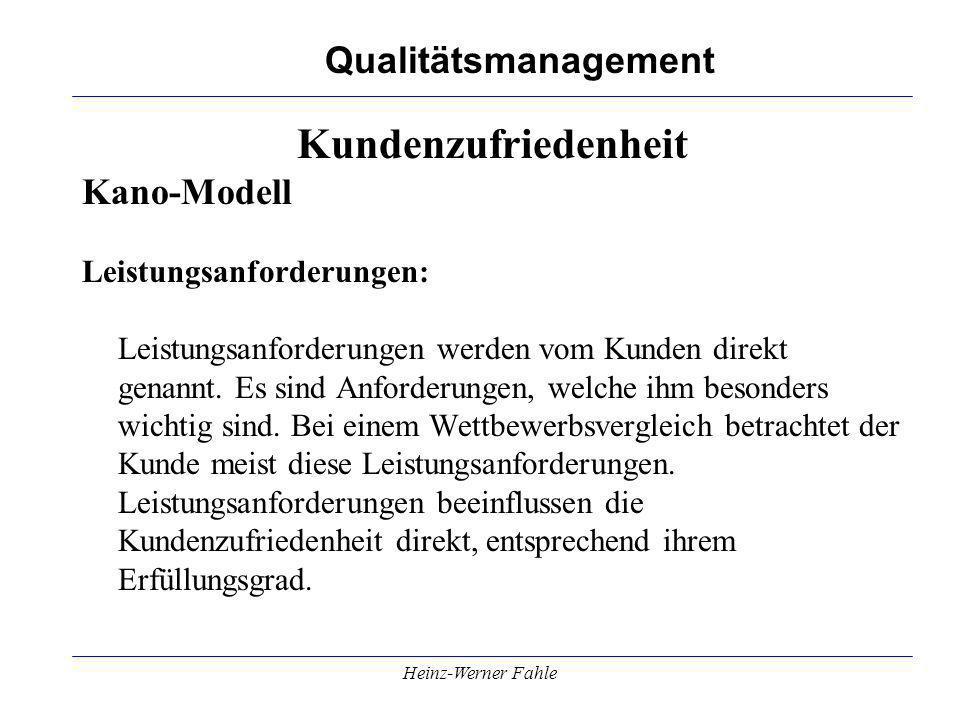 Qualitätsmanagement Heinz-Werner Fahle Kundenzufriedenheit Kano-Modell Leistungsanforderungen: Leistungsanforderungen werden vom Kunden direkt genannt