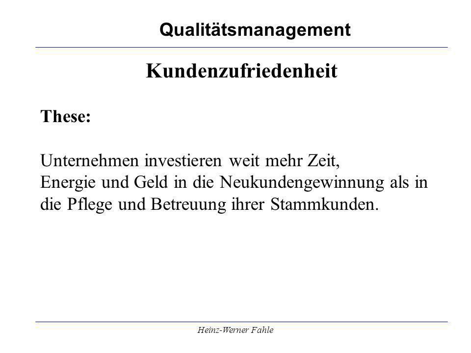 Qualitätsmanagement Heinz-Werner Fahle Kundenzufriedenheit These: Unternehmen investieren weit mehr Zeit, Energie und Geld in die Neukundengewinnung a