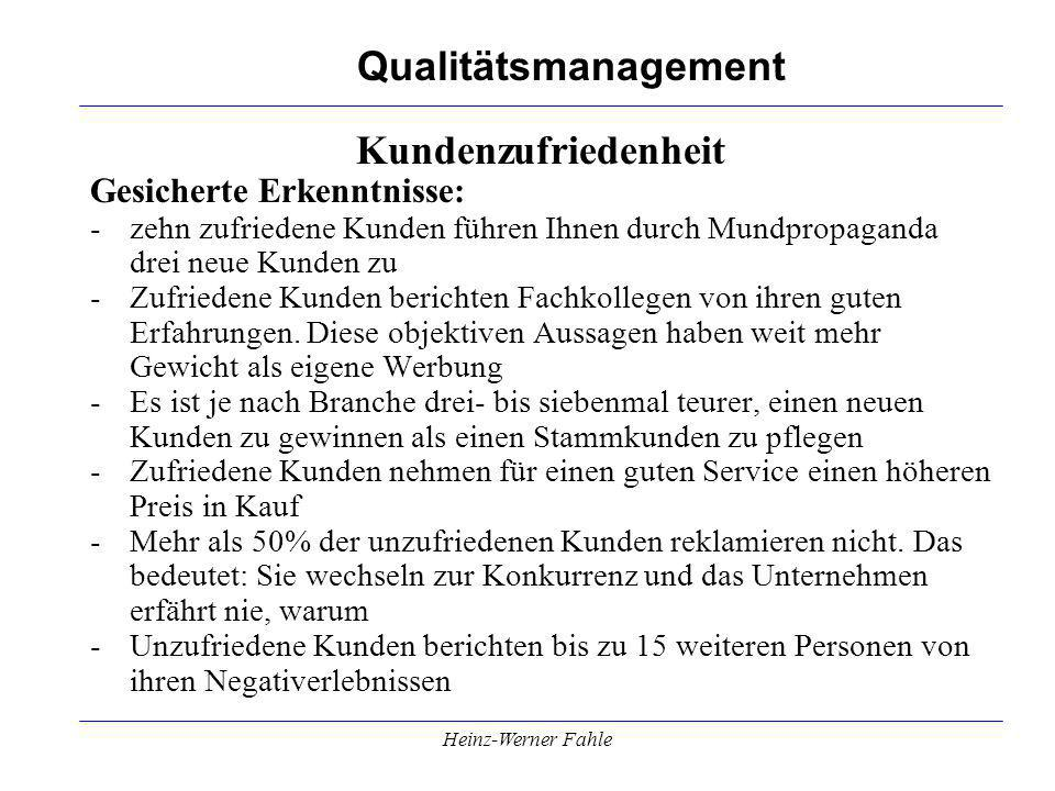 Qualitätsmanagement Heinz-Werner Fahle Kundenzufriedenheit Gesicherte Erkenntnisse: -zehn zufriedene Kunden führen Ihnen durch Mundpropaganda drei neue Kunden zu -Zufriedene Kunden berichten Fachkollegen von ihren guten Erfahrungen.