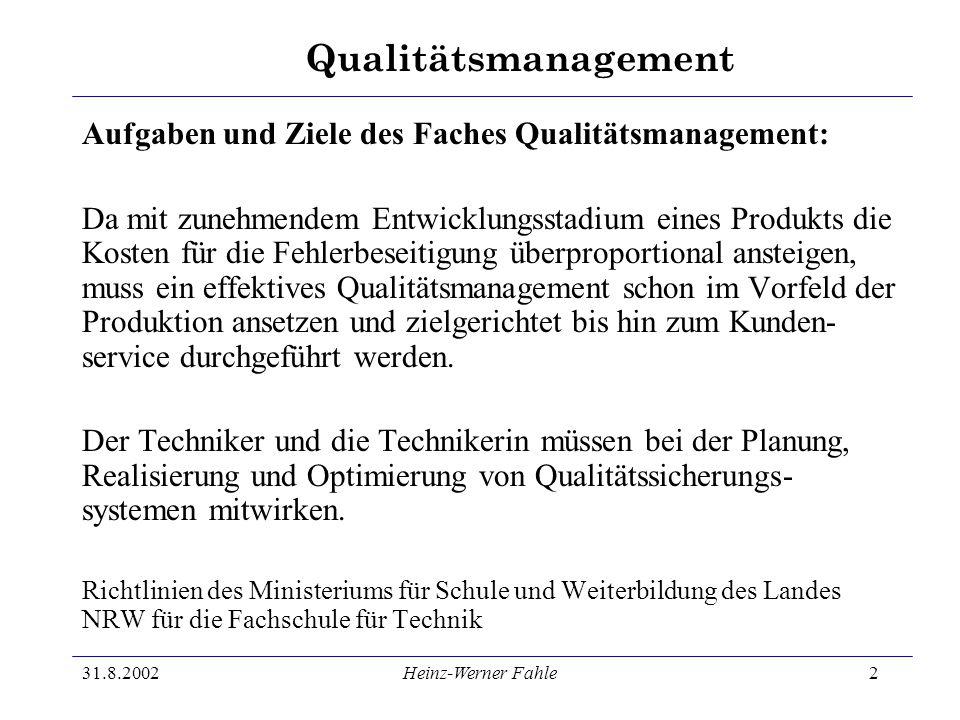 Qualitätsmanagement 31.8.2002Heinz-Werner Fahle2 Aufgaben und Ziele des Faches Qualitätsmanagement: Da mit zunehmendem Entwicklungsstadium eines Produ