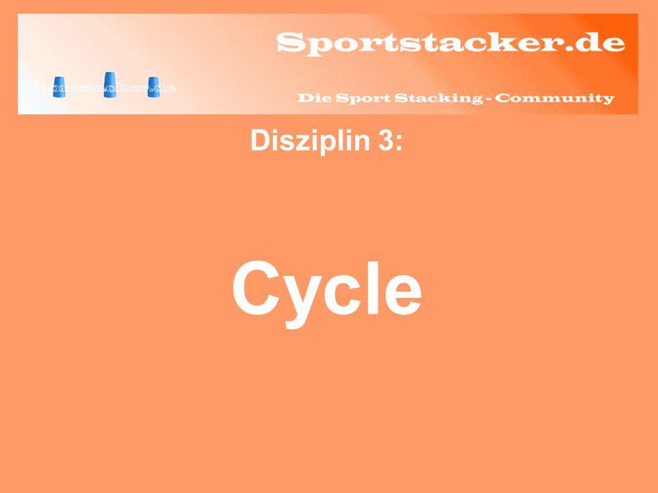 Beim Downstack geht man zurück zu dem 3er-Stapel, mit dem man angefangen hat aufwärts zu stapeln und lässt den oberen Becher (mit links oder rechts) auf einen der unteren Becher gleiten.