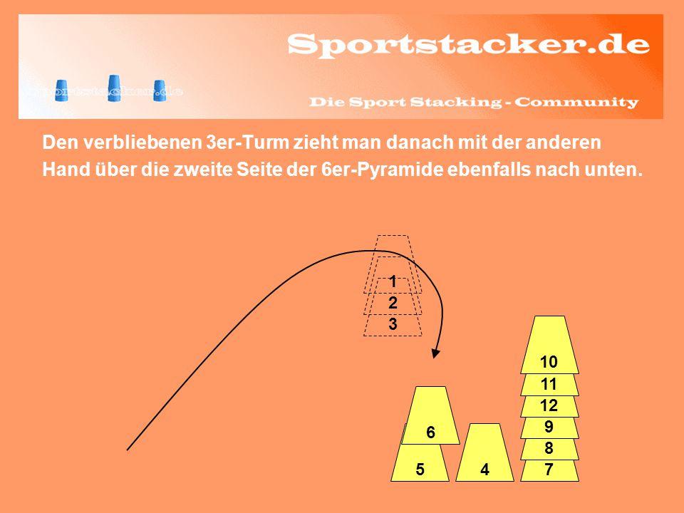 Den verbliebenen 3er-Turm zieht man danach mit der anderen Hand über die zweite Seite der 6er-Pyramide ebenfalls nach unten. 3 2 45 6 7 8 9 12 11 1 10