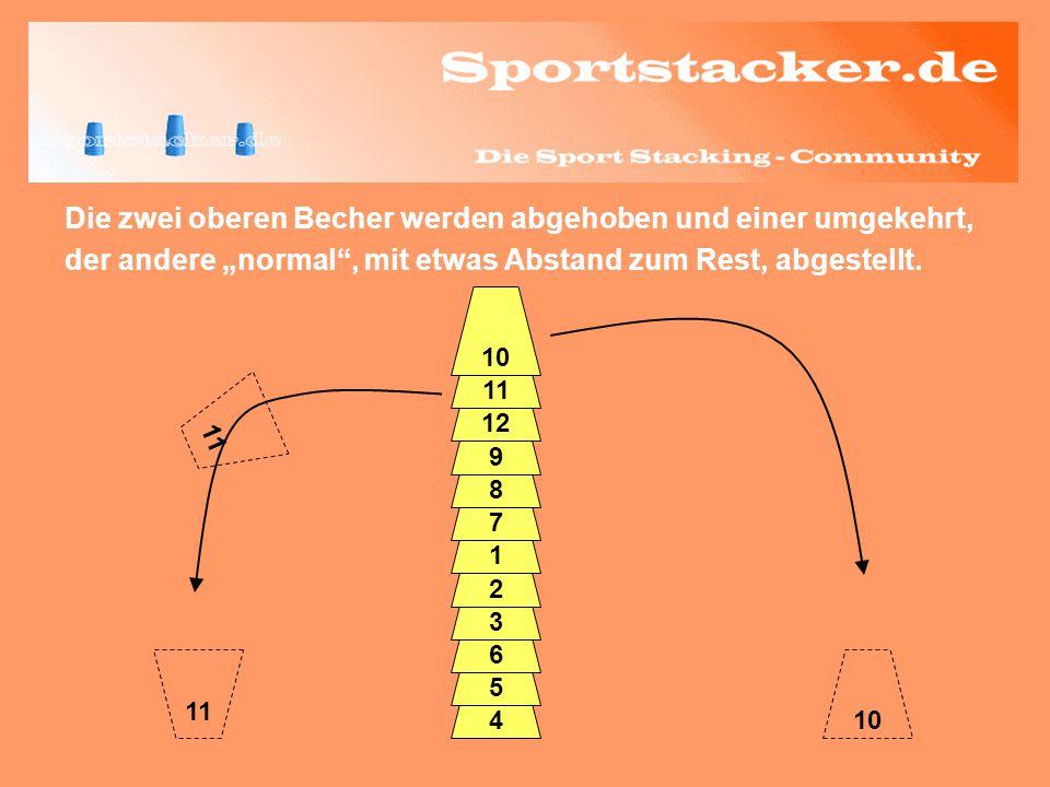 Die zwei oberen Becher werden abgehoben und einer umgekehrt, der andere normal, mit etwas Abstand zum Rest, abgestellt. 4 5 6 3 2 1 7 8 9 12 11 10 11
