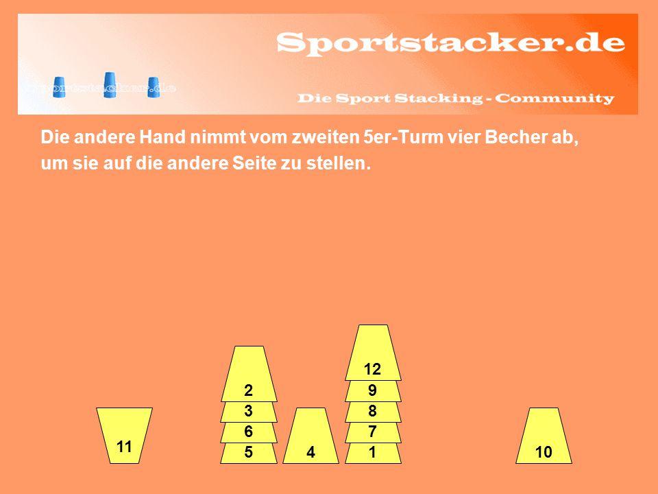 Die andere Hand nimmt vom zweiten 5er-Turm vier Becher ab, um sie auf die andere Seite zu stellen. 45 6 3 2 1 7 8 9 12 10 11