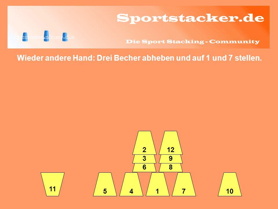 Wieder andere Hand: Drei Becher abheben und auf 1 und 7 stellen. 45 6 3 2 17 8 9 12 10 11