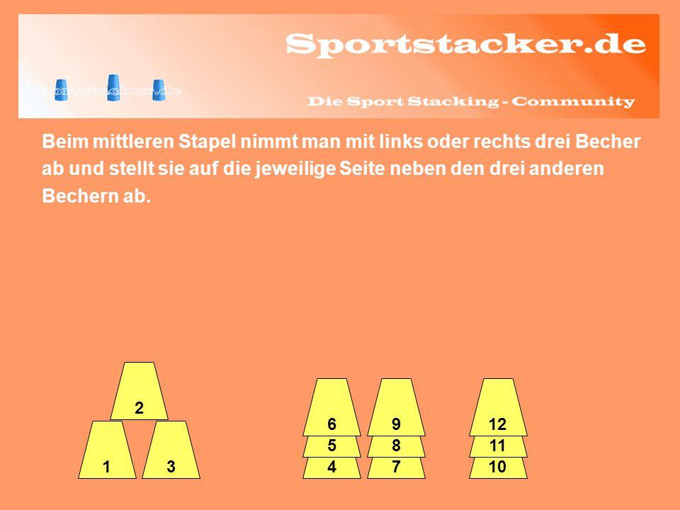 Den verbliebenen 3er-Turm zieht man danach mit der anderen Hand über die zweite Seite der 6er-Pyramide ebenfalls nach unten.