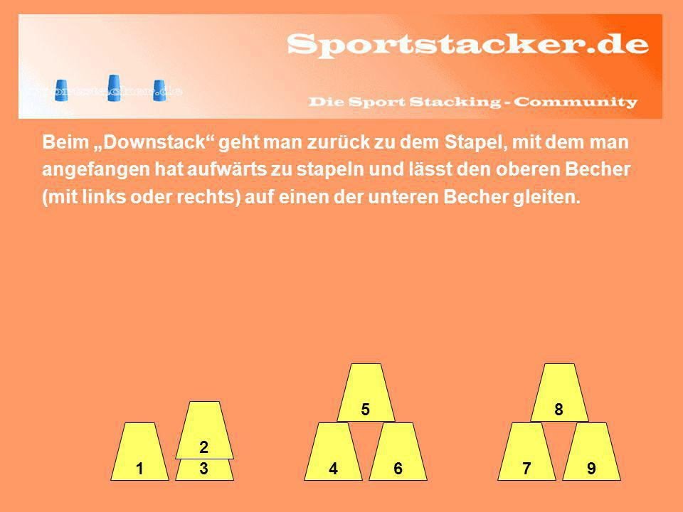 Beim Downstack geht man zurück zu dem Stapel, mit dem man angefangen hat aufwärts zu stapeln und lässt den oberen Becher (mit links oder rechts) auf e
