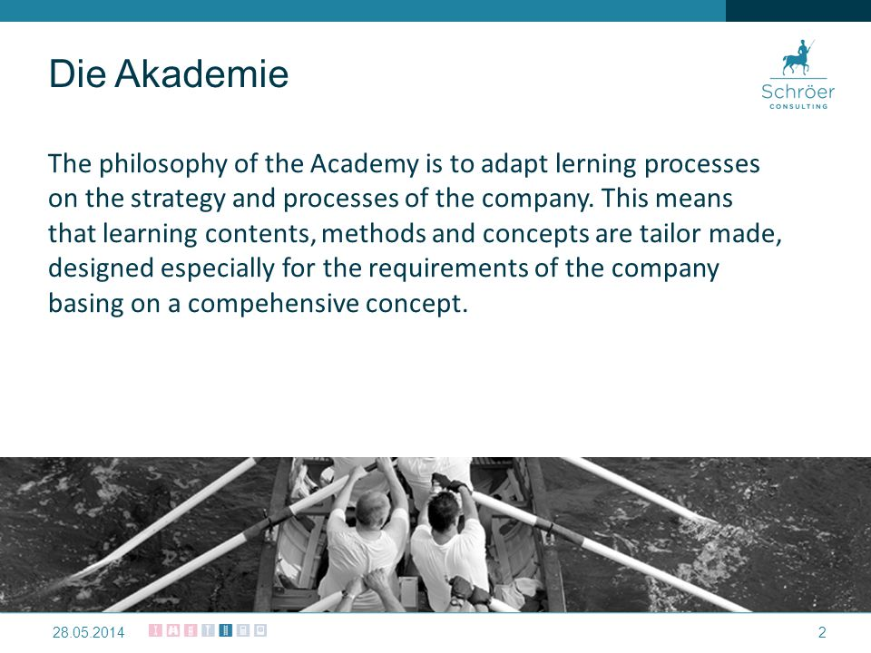 Die Akademie The philosophy of the Academy is to adapt lerning processes on the strategy and processes of the company.