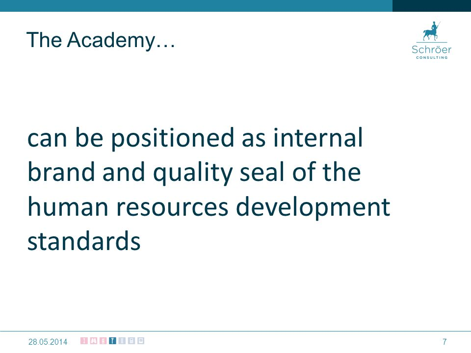 can be positioned as internal brand and quality seal of the human resources development standards 728.05.2014 The Academy…