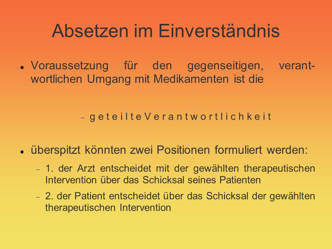 Absetzen im Einverständnis (2) mögliche Motive: es besteht keine Indikation zur Behandlung mehr die Unwirksamkeit des Medikamentes/Umsetzen untolerierbare UAW (unerwünschte Arzneimittel- wirkungen) Auslassversuch beim Eindruck nicht ausreichender Wirksamkeit