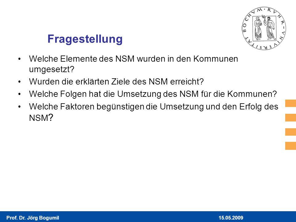 15.05.2009Prof. Dr. Jörg Bogumil Fragestellung Welche Elemente des NSM wurden in den Kommunen umgesetzt? Wurden die erklärten Ziele des NSM erreicht?