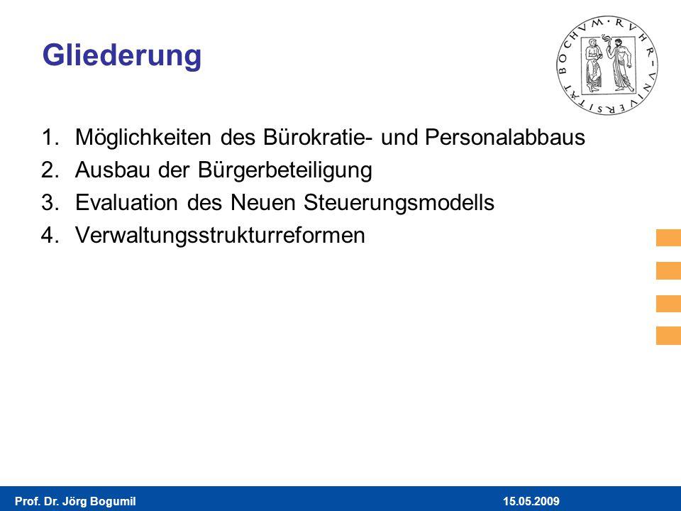 15.05.2009Prof. Dr. Jörg Bogumil Gliederung 1.Möglichkeiten des Bürokratie- und Personalabbaus 2.Ausbau der Bürgerbeteiligung 3.Evaluation des Neuen S