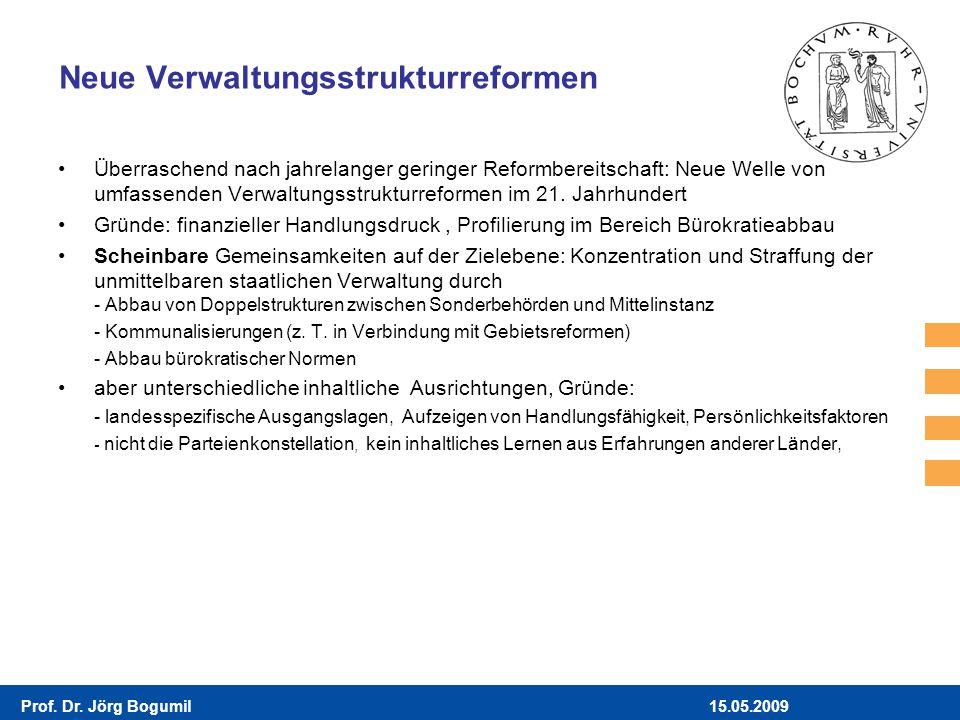 15.05.2009Prof. Dr. Jörg Bogumil Neue Verwaltungsstrukturreformen Überraschend nach jahrelanger geringer Reformbereitschaft: Neue Welle von umfassende