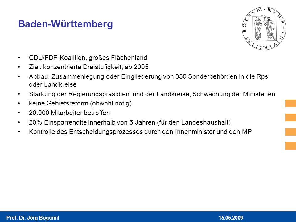 15.05.2009Prof. Dr. Jörg Bogumil Baden-Württemberg CDU/FDP Koalition, großes Flächenland Ziel: konzentrierte Dreistufigkeit, ab 2005 Abbau, Zusammenle