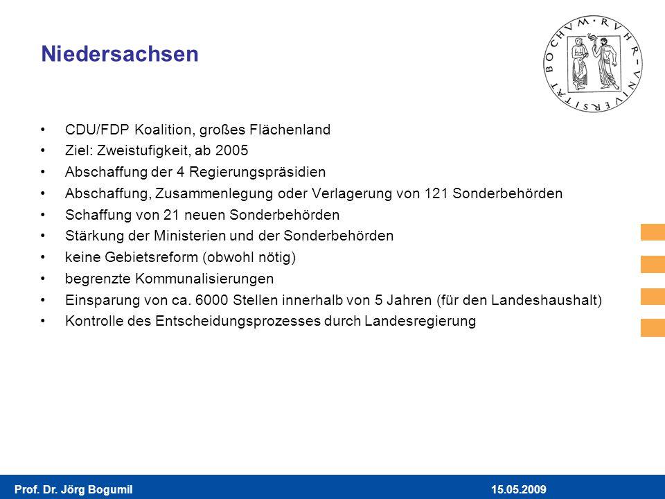 15.05.2009Prof. Dr. Jörg Bogumil Niedersachsen CDU/FDP Koalition, großes Flächenland Ziel: Zweistufigkeit, ab 2005 Abschaffung der 4 Regierungspräsidi